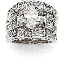 纯银通榄尖形和圆形锆石戒指 生产厂家