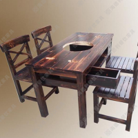 限时*** 火锅店味料台 古典中式自助火锅烧烤一体火锅桌 柜式实木火锅餐桌