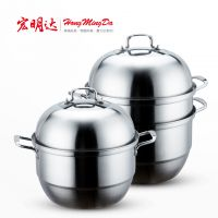 厂家 不锈钢蒸锅 三层复底可视蒸锅 蒸汤锅 宏明达