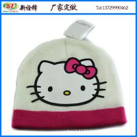 韩版秋冬可爱儿童毛线帽 Hello Kitty印花针织帽 宝宝保暖帽子