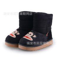 卡通图儿童靴子 男童女童冬季加厚保暖雪地靴 防滑防水童靴