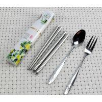 中国风餐具三件套 不锈钢筷子 不锈钢餐具套装 便携环保餐具