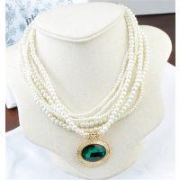 厂家直销批发饰品欧美民族风复古饰品蓝宝石吊坠珍珠项链高档精品
