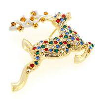 麋鹿形状胸针  义乌铜银工厂定做 铜镀真金仿真饰品