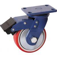 厂家直销轮子8寸超重型铁芯PU刹车轮兴牌脚轮