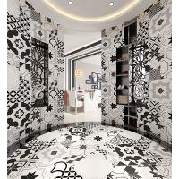 西班牙黑白抽象几何艺术复古小花砖吸水泥砖客厅背景墙地瓷砖