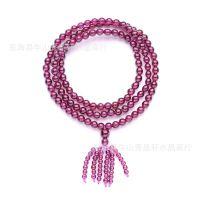 水晶批发 天然紫牙乌石榴石佛珠手链108颗 饰品代理一件代发
