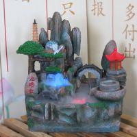 假山流水盆景喷泉家居装饰工艺品办公室小摆件招财风水轮加湿摆设