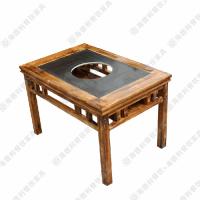 爆款必备 现代风格茶餐厅火锅桌 做旧实木火锅桌椅 6人位组合火锅餐台