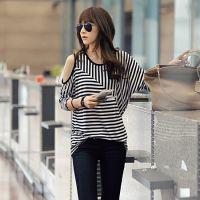 品牌服装代理加盟秋装韩版加盟露肩条纹长袖宽松T恤韩国女装代理