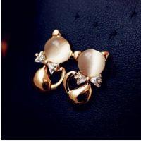 外贸 韩国耳钉裸色猫眼石锆石锆钻女蝴蝶结可爱小猫咪耳饰品1336