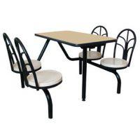 四人快餐台 椅子带靠背快餐桌 桌椅连体台 员工餐厅饭桌 4人餐桌
