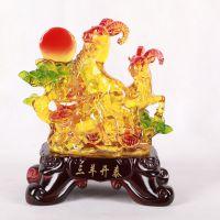 树脂仿琉璃工艺品羊年礼品摆件创意家居风水摆设批发商务礼品