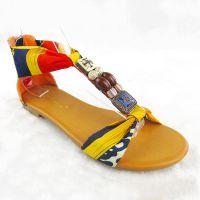 欧洲站 包跟拉链女式凉鞋新款民族风拼色女鞋鱼嘴大码凉鞋女批发