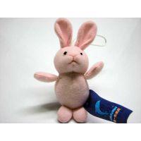 企业吉祥物礼品定做短毛绒粉红可爱小兔子毛绒钥匙扣