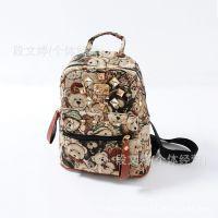 新款韩版卡通小熊手工镶钻铆钉时尚双肩包 儿童背包书包 手拎包