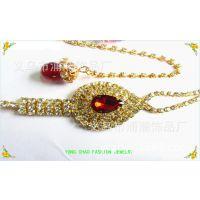 时尚精美合金金色镶嵌水晶 镶嵌水钻 项链和耳坠套装 饰品批发