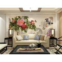 景灿大型3D整张定制无纺布壁画 中式手绘山水牡丹花卉家和富贵锦鲤壁纸 客厅卧室电视沙发背景墙纸