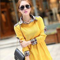 2014春装新款宽松韩版长款格子衬衣领假两件针织衫毛衣外套女
