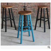 新款上市 loft家具美式实木餐椅 画布咖啡厅指定椅子 高脚凳