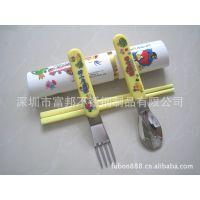 供应儿童卡通便携餐具,葫芦塑柄勺叉塑筷三件套,