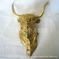 铜雕摆件招财风水动物铜器家居饰品 铜牛头工艺品挂件 批发定做