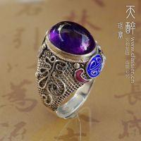 【天醉】福临 掐丝珐琅花丝镶嵌天然紫水晶戒指景泰蓝手工银饰品