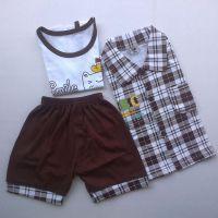批发2014新款儿童三件套装 纯棉男童套装 格子童装套装 短袖套装