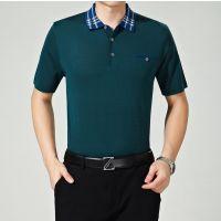 迪赛羊男装中年男式针织短袖线衫 商务宽松男士短袖T恤男桑蚕丝