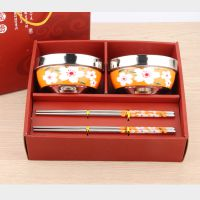 不锈钢餐具套装 日式和风樱花碗筷礼盒 回礼赠品 宏明达 厂家直销