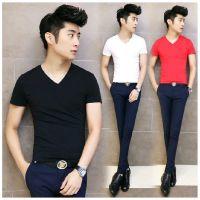 2016韩版个性纯色时尚班服 男式圆领 V领男士短袖T恤批发可印字图
