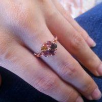 日韩***天然碧玺镶嵌925银时尚五瓣花宝石饰品女式高贵个性戒指