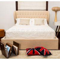 美式复古做旧布艺床双人床卧室酒店宾馆特价定制婚床