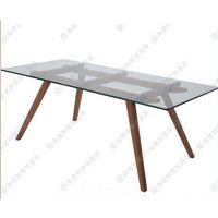 美式简约风格咖啡桌 实木框玻璃咖啡桌 超值实惠咖啡厅玻璃咖啡桌厂家直销