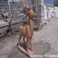 供应动物石雕小鹿优质晚霞红雕刻鹿加工定做各种尺寸