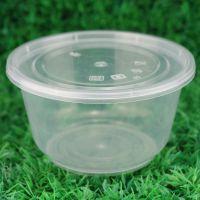 供应明进450ml一次性打包碗带盖批发 圆形一次性饭盒餐盒打包盒塑料汤碗