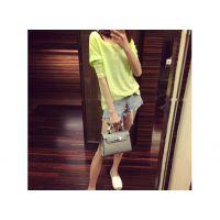 品牌代理网上开店韩国基本纯色圆竹节棉长袖T恤服装加盟代理代销