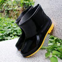厂家直销男士低帮花园雨鞋筋底pvc耐油耐酸碱洗车雨鞋批发代发