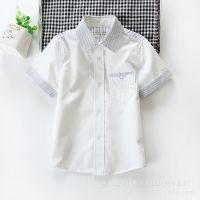 外贸童装 男童 韩版潮范纯色儿童短袖衬衫 中小童衬衫 15夏季新款