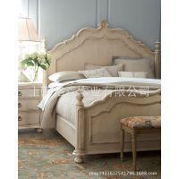 美式复古实木床厂家直销法式乡村风格白色做旧特价定做样板间家具
