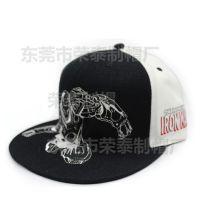 新款黑白刺绣卡通钢铁侠平沿嘻哈帽 男女通用滑板帽 欧美街舞帽潮