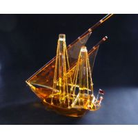 供应黄色K9料水晶帆船模型定做 商务摆件水晶一帆风顺
