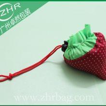 经典草莓袋折叠袋 束口收纳袋 穿绳210D购物袋 防水折叠袋