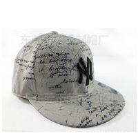 新款印花皮质平沿帽 PU皮复古嘻哈帽不可调节 新款潮户外棒球帽子
