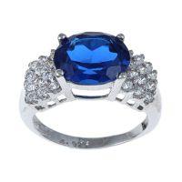 奢华贵族 坦桑色锆石戒指 手工蜡镶微镶锆石饰品 饰品工厂加工