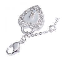 心形锁加钥匙 爪镶锆石吊坠 环保铜镀真金挂饰