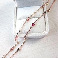 奥采 厂家直销 天然巴西碧玺手链女 925纯银镶嵌彩宝石简约玫瑰金