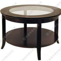 古典风圆形实木框架玻璃西餐桌 西餐厅多位圆形西餐桌热销