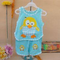 2015儿童夏装镂空琵琶衫企鹅造型衣宝宝套装纯棉两件套 婴儿装