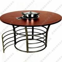 强力推荐 地中海风格圆形火锅桌 实木桌子 休闲餐厅小型火锅桌
